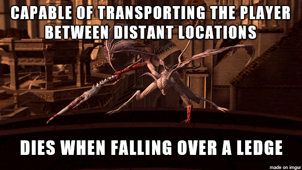 Photo caption - CAPABLE OF TRANSPORTING THE PLAYER BETWEEN DISTANT LOCATIONS DIES WHEN FALLING OVER A LEDGE made on imgur