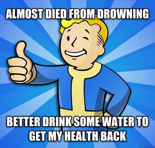 Cartoon - ALMOST DIED FROM DROWNING BETTER DRINK SOME WATER TO GET MY HEALTH BACK