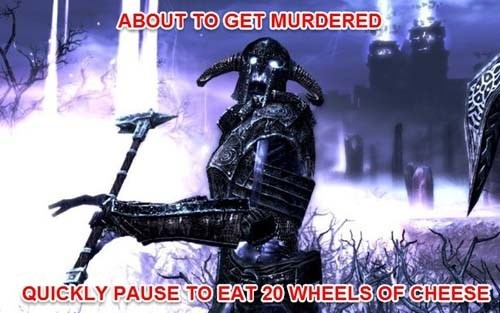 Action-adventure game - ABOUT TO GET MURDERED QUICKLY PAUSE TO EAT 20 WHEELS OF CHEESE