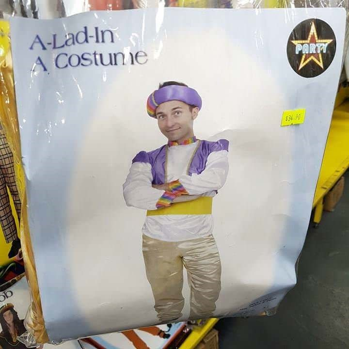Ridiculous knockoff costume of Aladdin shows best way to get around copyright law.