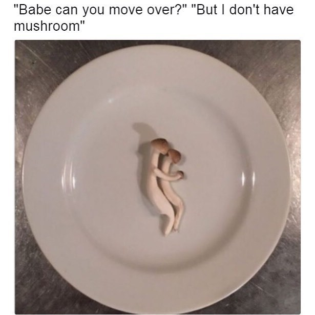 Funny meme and pun about not having much room - move over, i don't have mushroom, photo of mushrooms spooning.