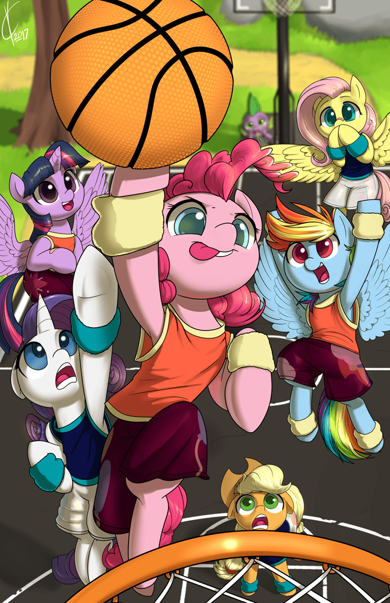 spike applejack twilight sparkle dreatos pinkie pie rarity basketball fluttershy rainbow dash - 9058386944