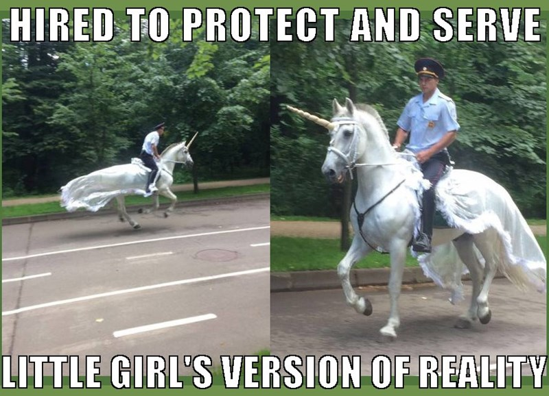 Meme of cop protecting and serving some girls version of reality by riding a horse with a unicorn horn.