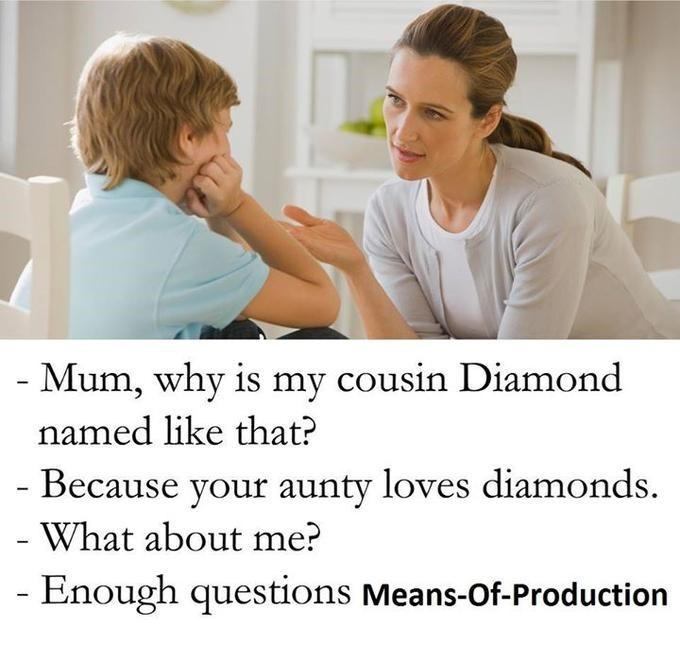 Skin - - Mum, why is my cousin Diamond named like that? Because your aunty loves diamonds What about me? Enough questions Means-Of-Production
