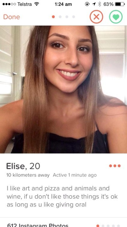 Funny tinder profile of Elise about importance of giving oral