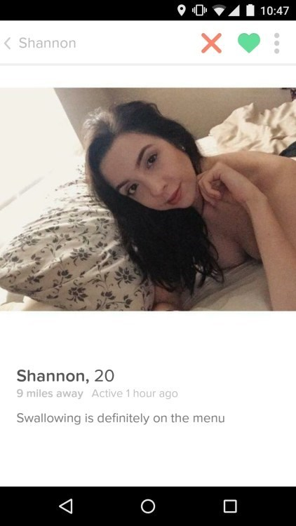 Tinder profile of Shannon who is 20 and mostly undressed in the picture and assures that swallowing is on the menu