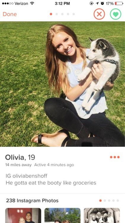 Olivia demands eating booty on her Tinder profile