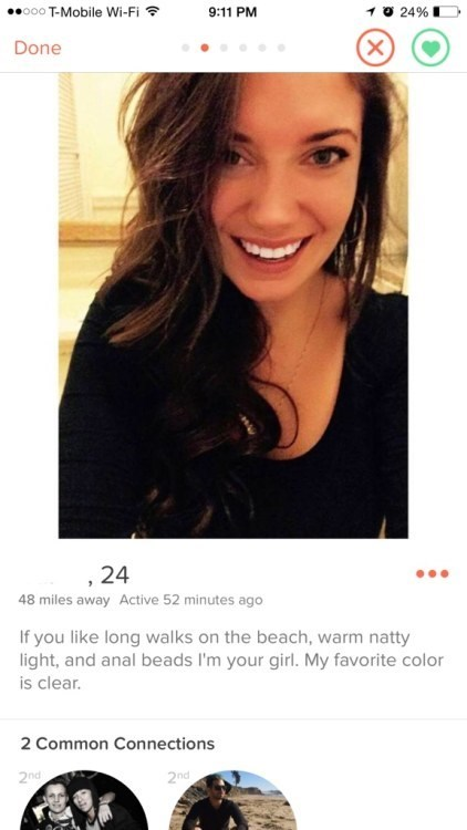 tinder profile of girl who likes anal beads