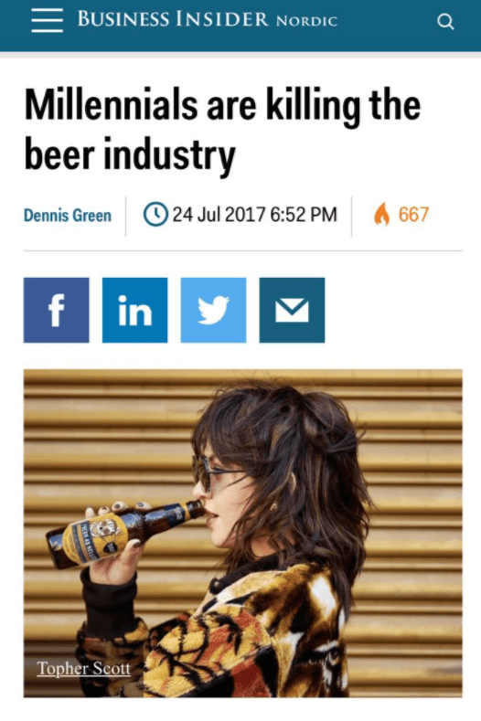 Text - BUSINESS INSIDER NORDIC Millennials are killing the beer industry 24 Jul 2017 6:52 PM 667 Dennis Green f in Topher Scott