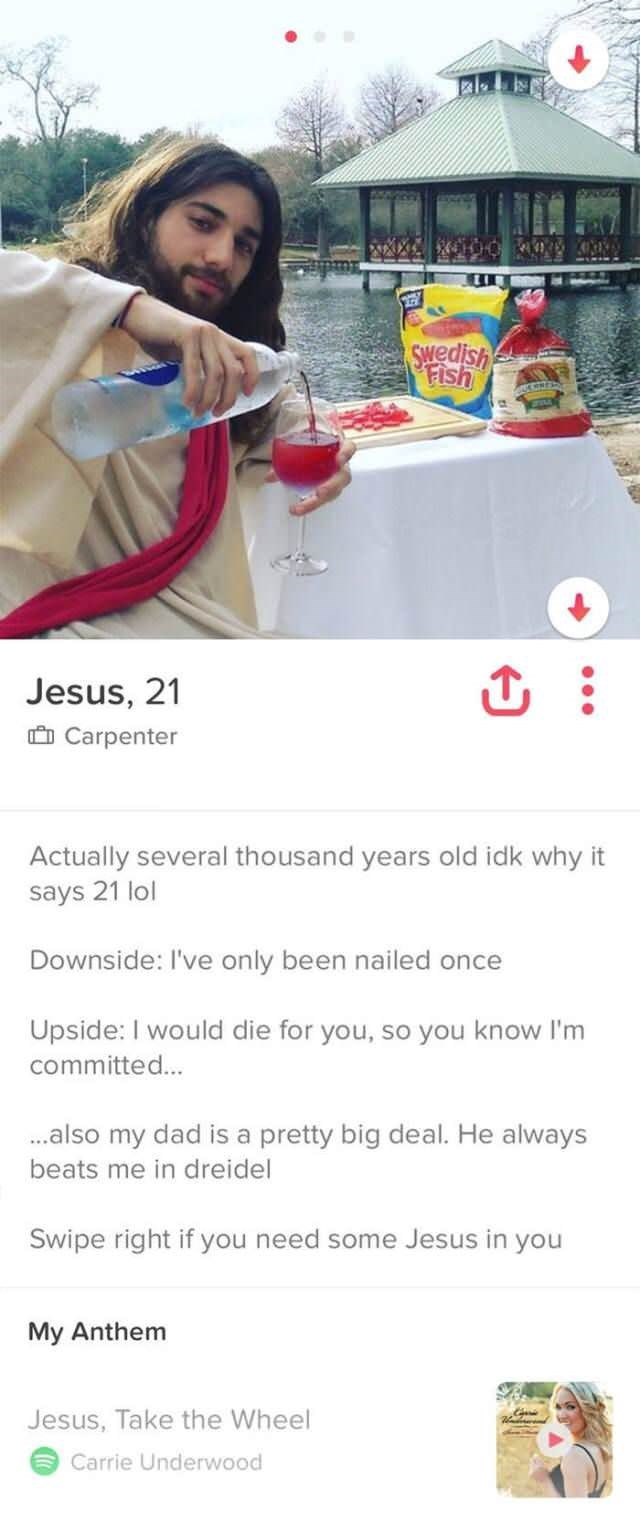 funny tinder profile of Jesus pouring wine