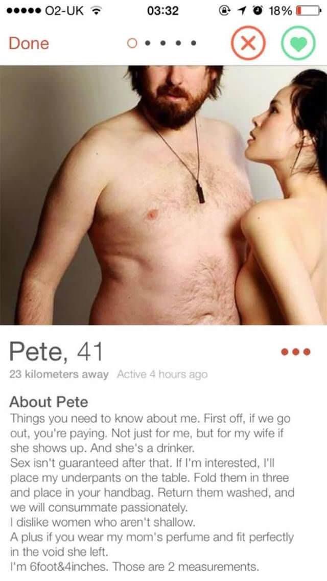 Pete 41 has hilarious tinder profile