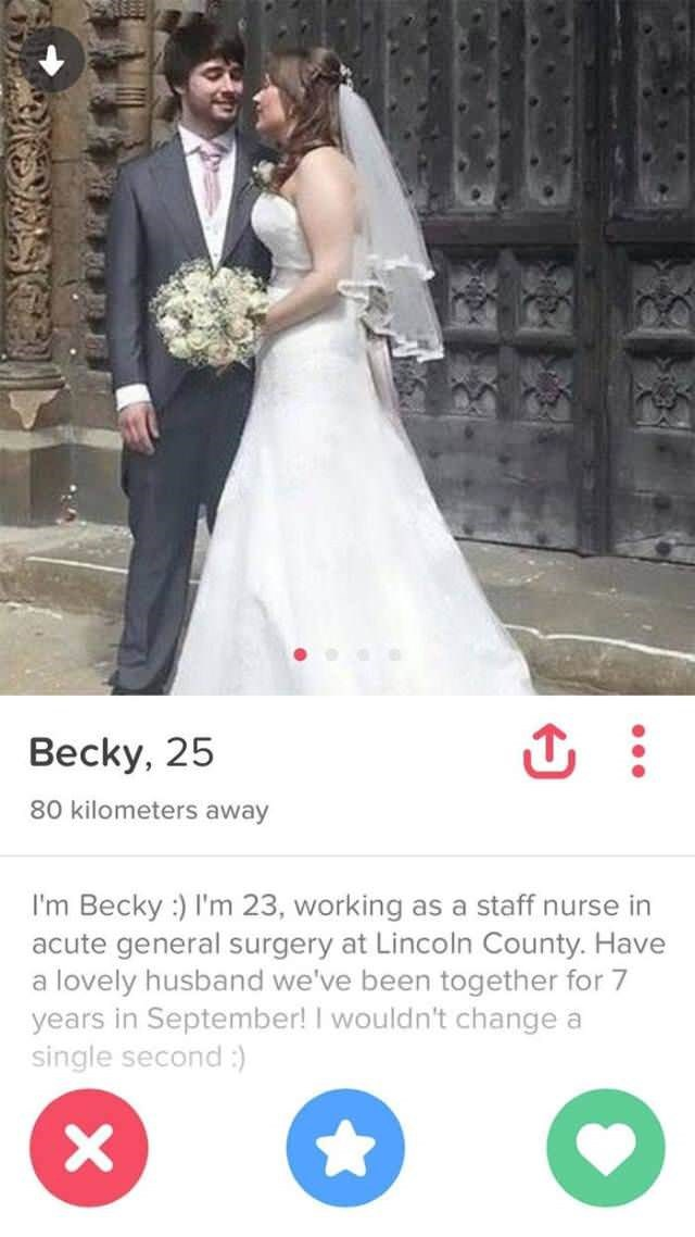 tinder profile of Becky who is married and happy