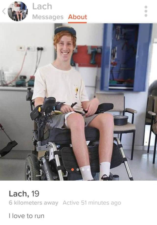 lach 19 in a wheelchair with joke in tinder profile that he likes to run