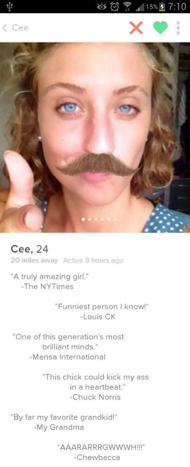 Tinder profile of Cee who is wearing a fake mustache and seems to be very funny