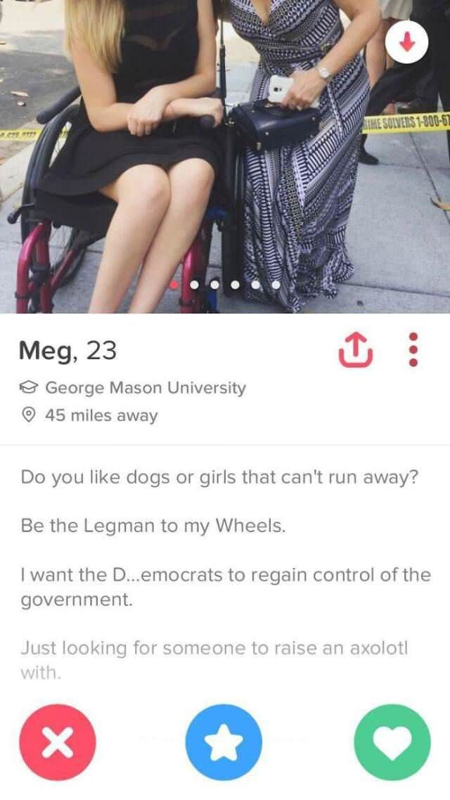Product - IME SOLVERS 1-800-6 Meg, 23 George Mason University 45 miles away Do you like dogs or girls that can't run away? Be the Legman to my Wheels. I want the D...emocrats to regain control of the government Just looking for someone to raise an axolotl with X