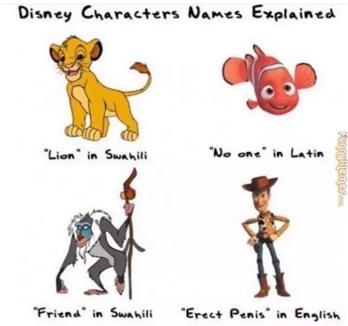 """Animal figure - Disney Characters Names Explained """"No one in Latin """"Lion"""" in Swahili """"Friend"""" in Swahili Erect Penis"""" in English"""