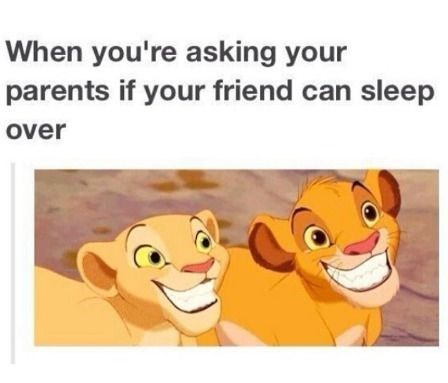 Animated cartoon - When you're asking your parents if your friend can sleep over
