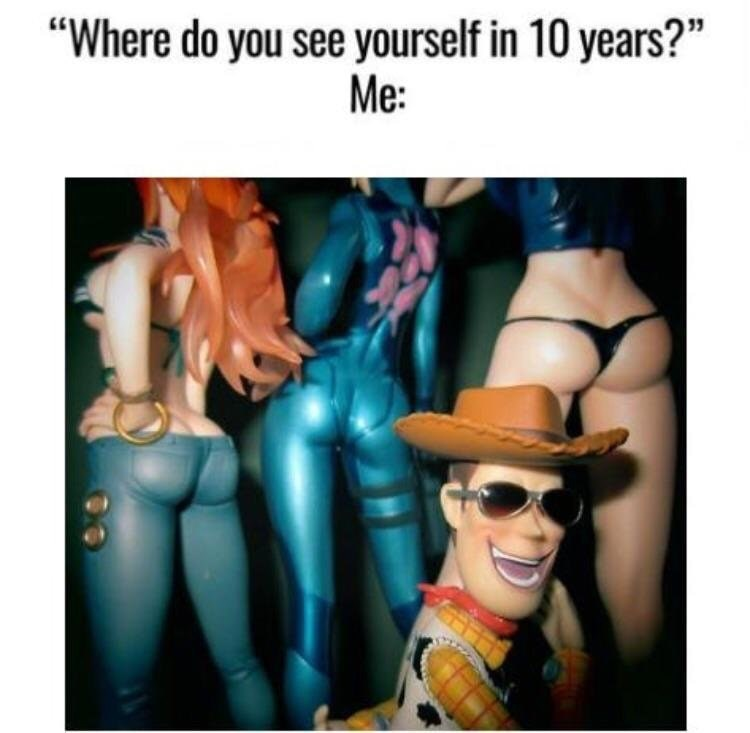 Funny meme about where you see yourself in 10 years, woody at a strip club.