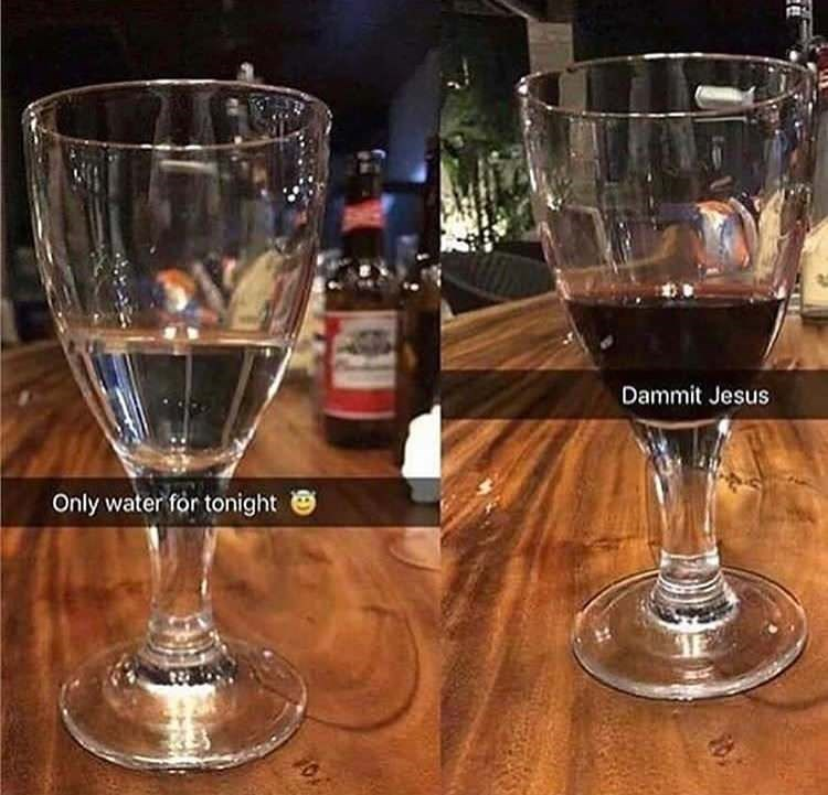 random meme - Stemware - Dammit Jesus Only water for tonight 0