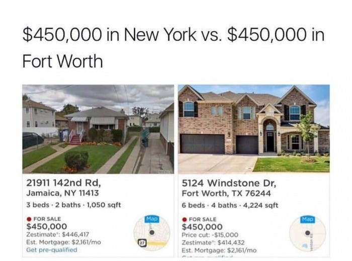 random meme - Property - $450,000 in New York vs. $450,000 in Fort Worth 21911 142nd Rd, Jamaica, NY 11413 5124 Windstone Dr, Fort Worth, TX 76244 3 beds 2 baths 1,050 sqft 6 beds-4 baths 4,224 sqft Map Map FOR SALE FOR SALE $450,000 Zestimate: $446,417 Est. Mortgage: $2,161/mo Get pre-qualified $450,000 Price cut:-$15,000 Zestimate: $414,432 Est.Mortgage: $2,161/mo 27