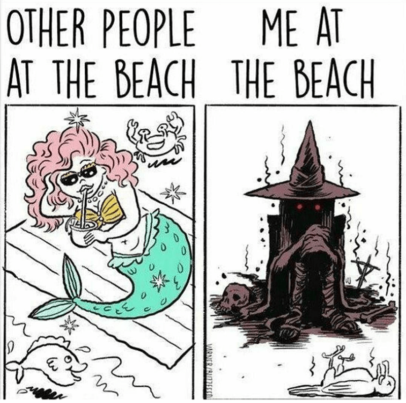 Meme about how the beach is a very hostile and burning place