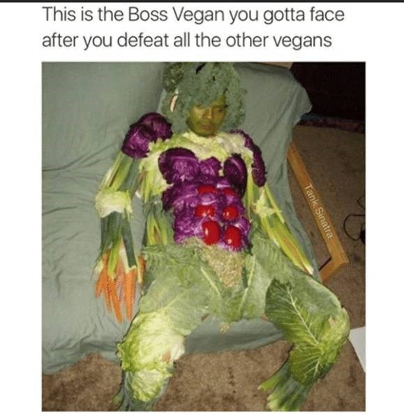 vegan meme about beating a guy covered in fruits and veggies