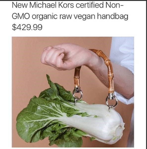 meme about vegans carrying a handbag made out of veggies