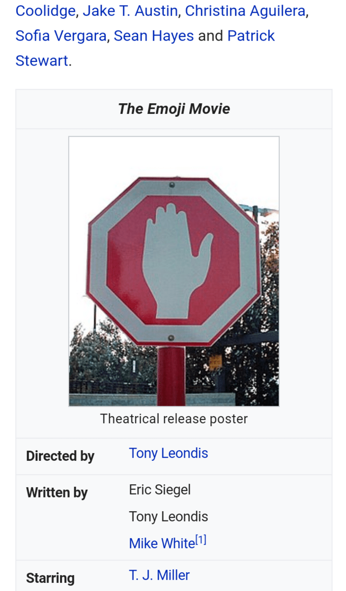 Meme of The Emoji Movie of a stop sign