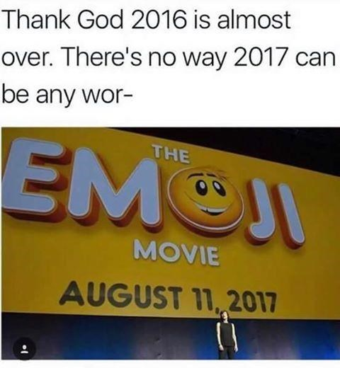 Brutal meme making fun of Emoji Moving being the worst thing in 2017