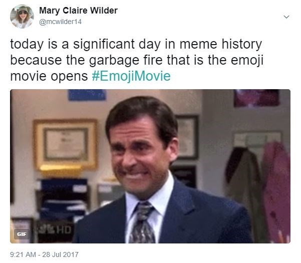 Michael Scott cringe face meme about the Emoji Movie being a significant day in meme history.