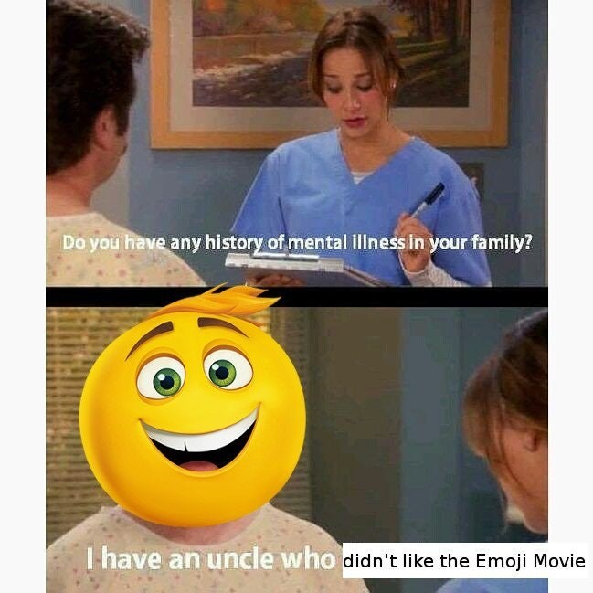 Funny meme using parks and rec and emoji movie.