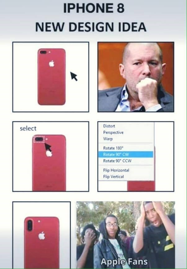 Funny meme about how Apple changes the smallest thing and apple fans freak out.