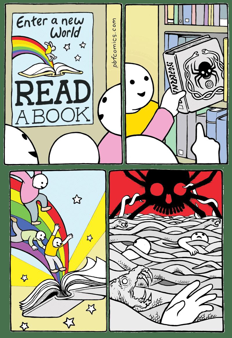 webcomic - Comics - Enter a new World READ A BOOK pbfcomics.com GRNRN