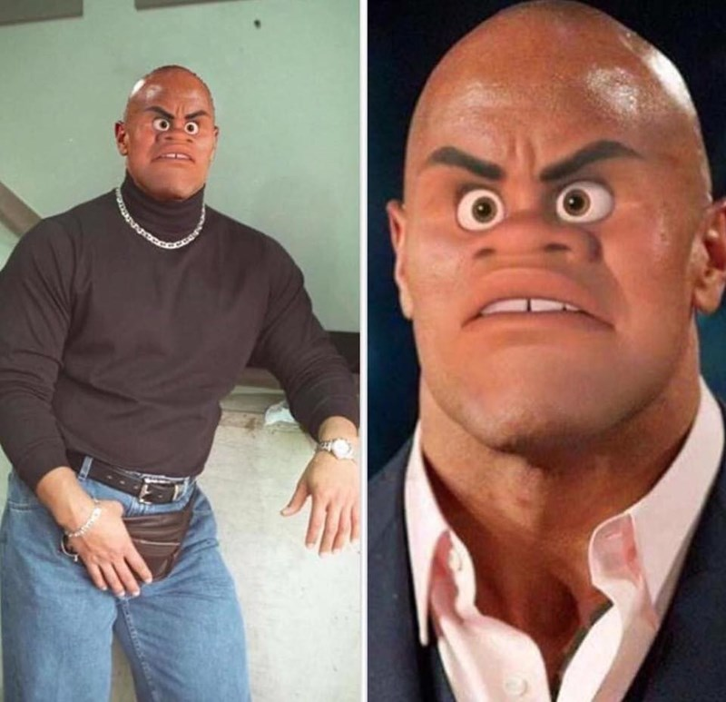 "Funny meme puting the face of the god from Moana onto Dwayne ""the Rock"" johnson, who voices the character."