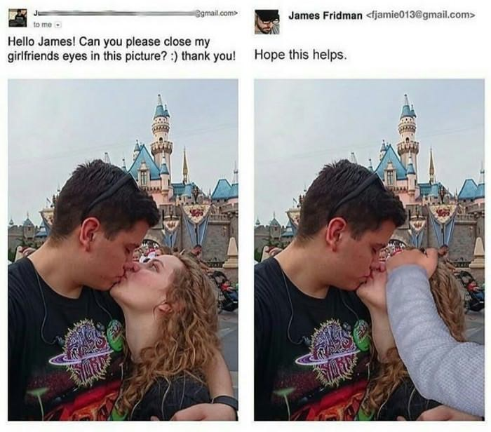 James Fridman photoshops his hand over man's GF to make it look like her eyes are closed.