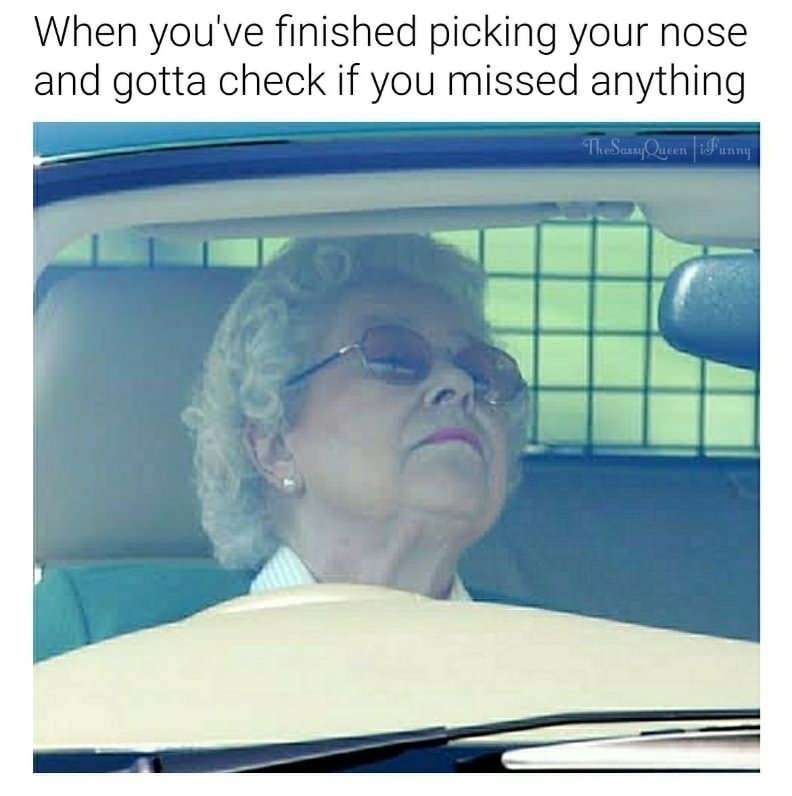 Nose picking meme with the Queen Of England checking for boogers.