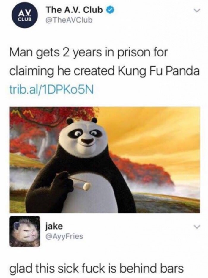 Meme of man that got 2 years of prision for claiming he created Kung Fun Panda