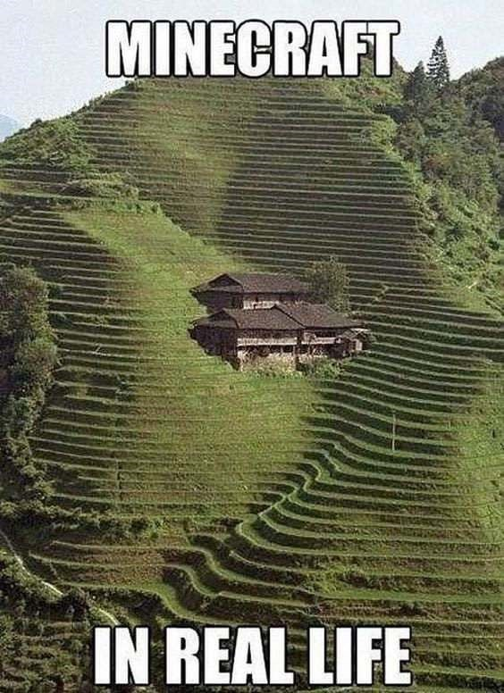 IRL minecraft meme of house in terraced hill