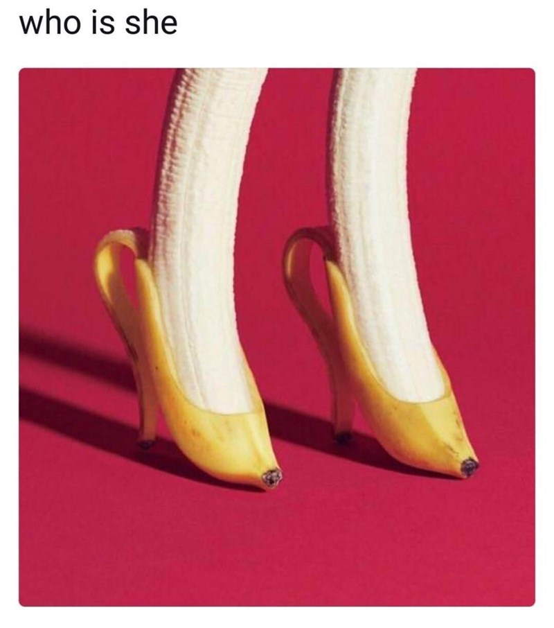 Bananas immaculately peeled to looks like ladies high-heeled shoes.