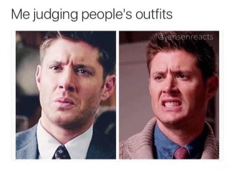 Meme about judging other people's outfits