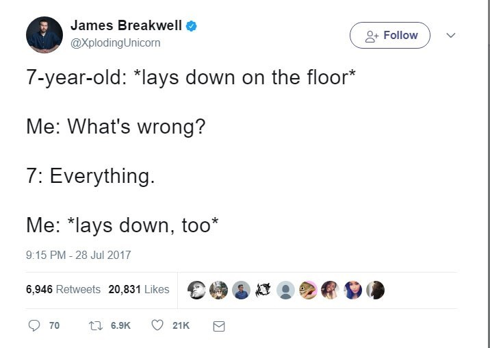 James Breakwell tweet about 7 year old laying on the floor because everything is wrong and joins him on the floor.