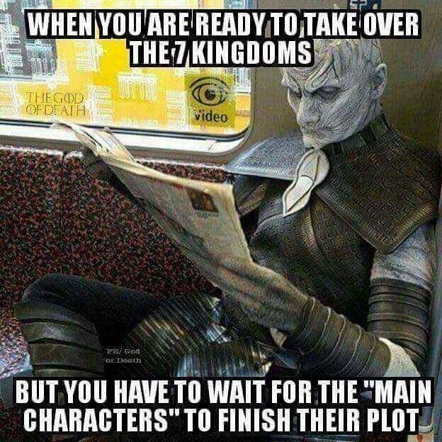 Funny meme about white walkers from game of thrones being ready to take over the kingdom, photo of man reading paper in white walker outfit.