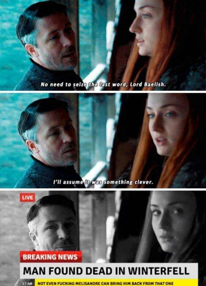 Funny meme about Sansa burning Littlefinger.
