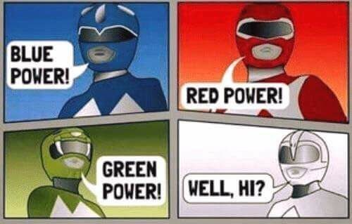 Funny meme about the power rangers chant not being PC.