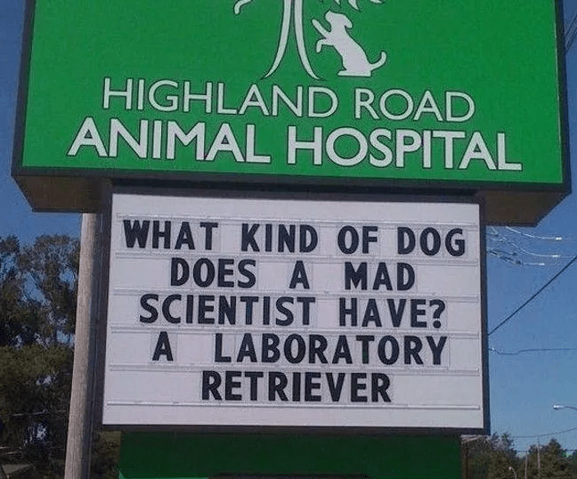Signage - HIGHLAND ROAD ANIMAL HOSPITAL WHAT KIND OF DOG DOES A MAD SCIENTIST HAVE? A LABORATORY RETRIEVER