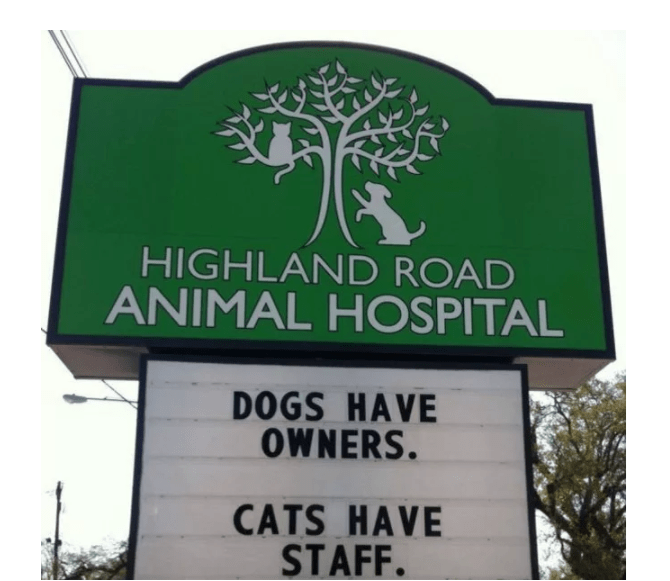 Street sign - HIGHLAND ROAD ANIMAL HOSPITAL DOGS HAVE OWNERS. CATS HAVE STAFF.
