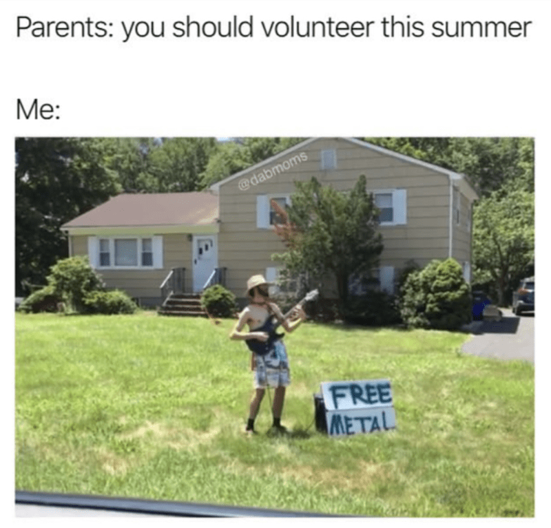 Lawn - Parents: you should volunteer this summer Mе: @dabmoms FREE METAL