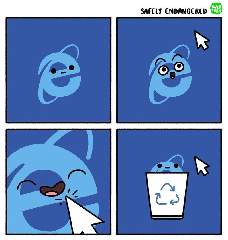 Funny web comic about internet explorer, the icon gets excited when the cursor hovers over it, only to be disappointed when it is put into the recycling bin.