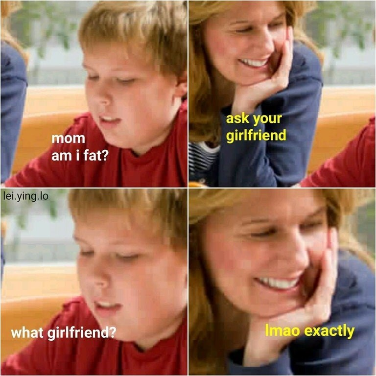 Dank meme of son asking his mom if he is fat and she gives brutal response.