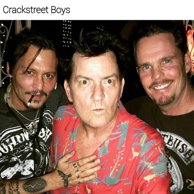 Dank meme of Johny Depp, Charlie Sheen and Kevin Dillon captioned as the Crackstreet boys
